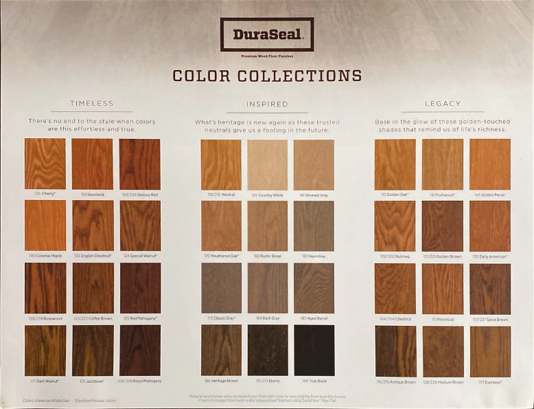 Duraseal colors 2020